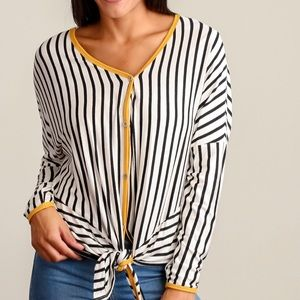 Tops - Ivory and mustard stripe button down blouse